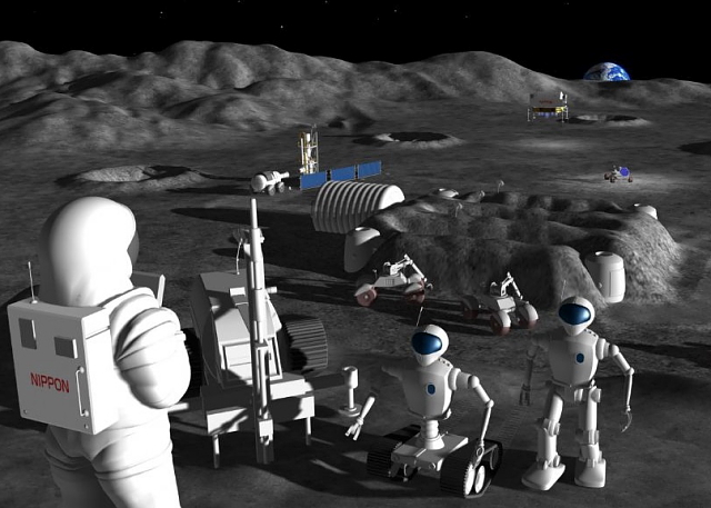 Japanese robots on the moon --