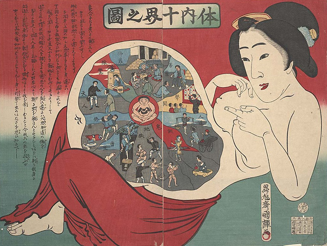 Health-themed ukiyoe print -- 