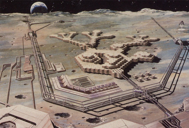 Lunar base concept by Shimizu Corporation --