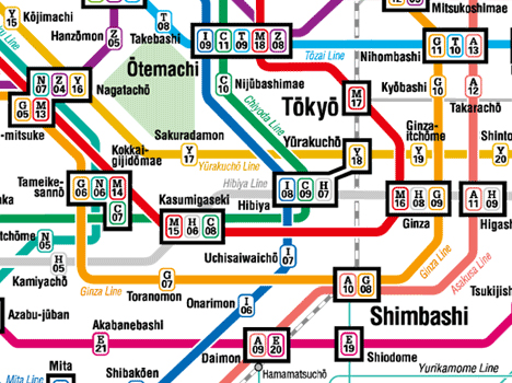 Subway map of central Tokyo -- 