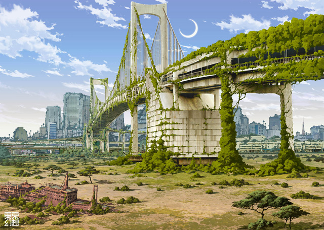 Tokyo in ruins, illustration by Tokyo Genso -- 