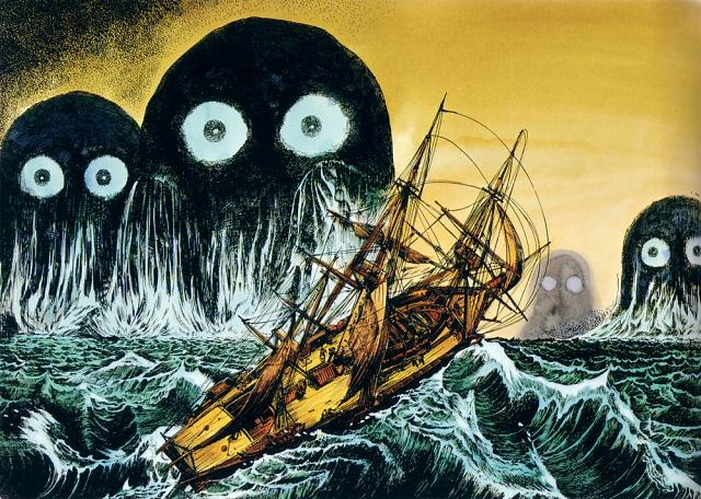 Umibozu illustration from Shigeru Mizuki's Yokai Jiten --