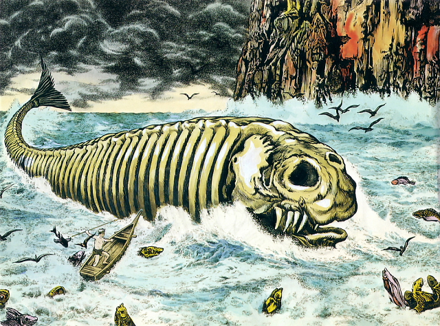 Bakekujira illustration from Shigeru Mizuki's Yokai Jiten -- 