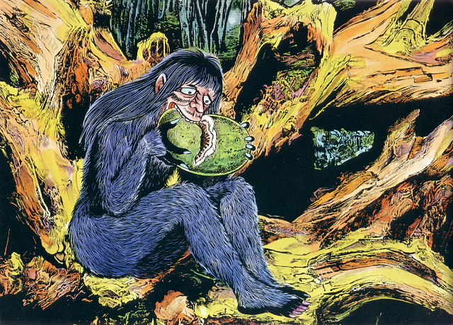 Satori illustration from Shigeru Mizuki's Yokai Jiten -- 