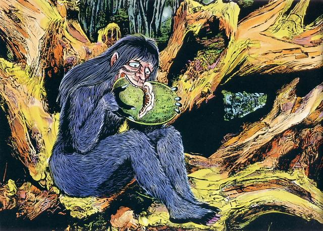 Satori illustration from Shigeru Mizuki's Yokai Jiten --
