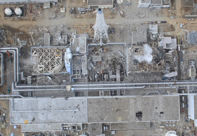 Hi-res aerial photo of Fukushima No.1 nuclear power plant --