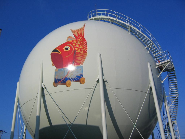 Decorated gas holder in Japan --