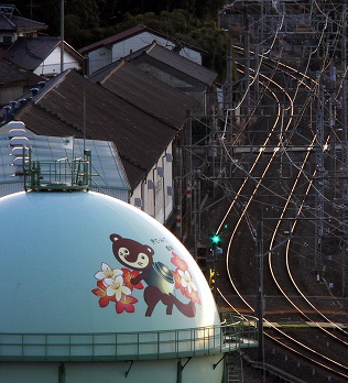 Decorated gasholder in Japan --