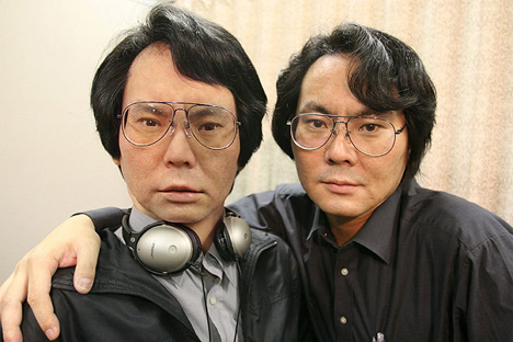 Dr. Hiroshi Ishiguro with his robot double --