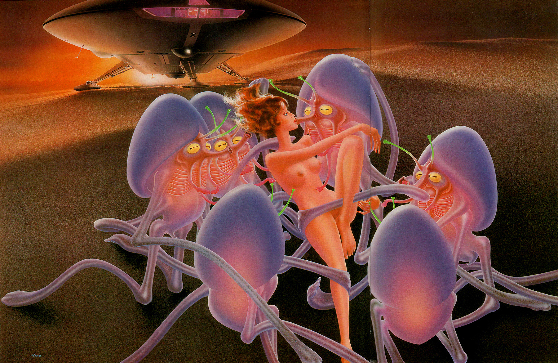 Sci-fi illustrations by Shusei Nagaoka ~ Pink Tentacle