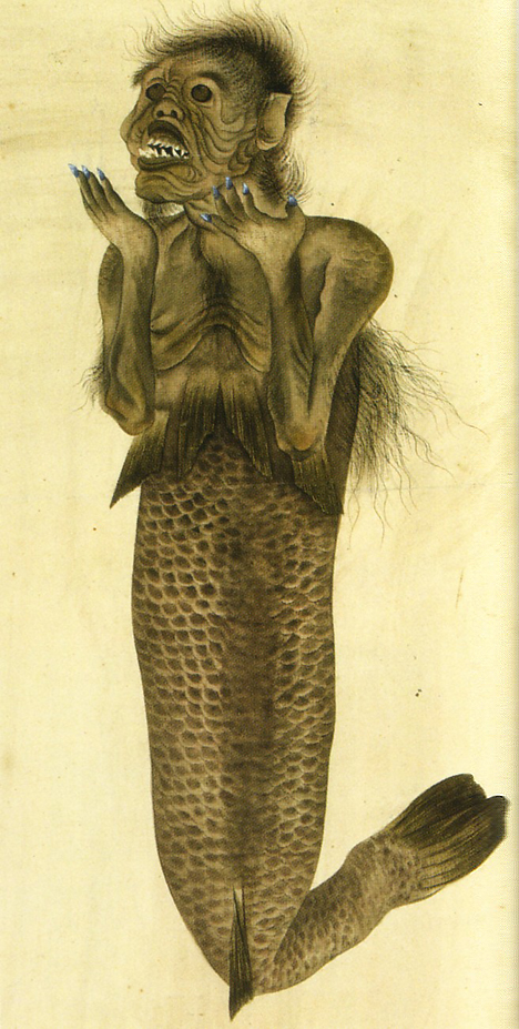 19th century mermaid drawing --